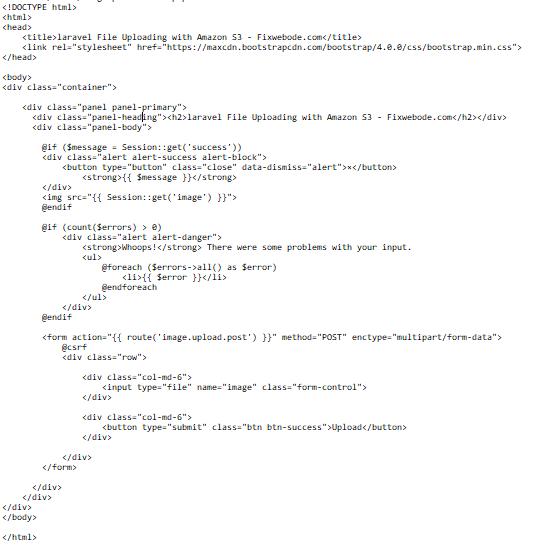 laravel File Uploading with Amazon S3 - Fixwebode.com
